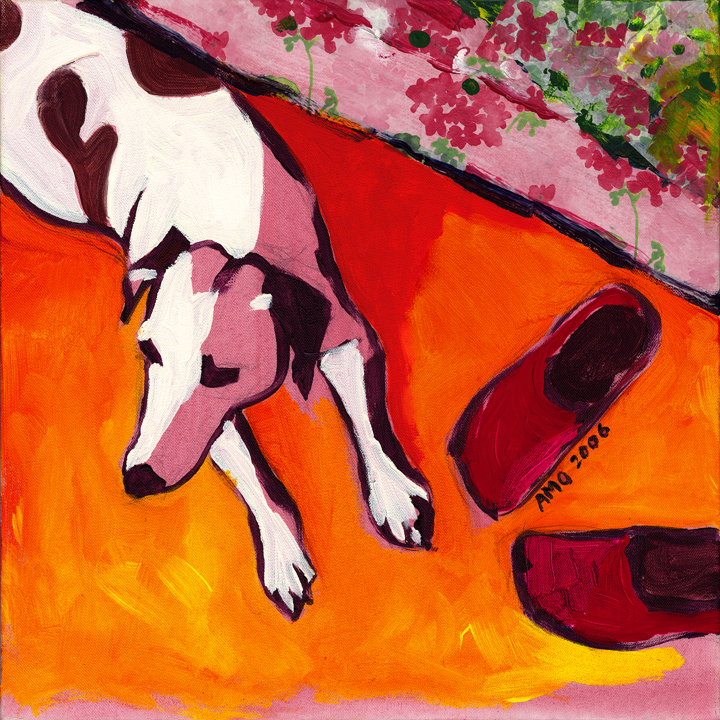 Dog with clogs