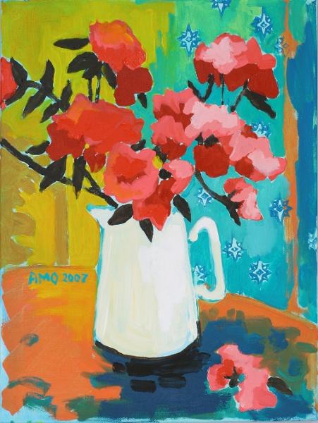 Azaleas in white pitcher